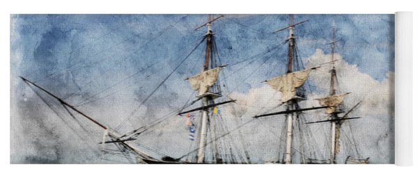 Uss Constitution On Canvas - Featured In 'manufactured Objects' Group Yoga Mat