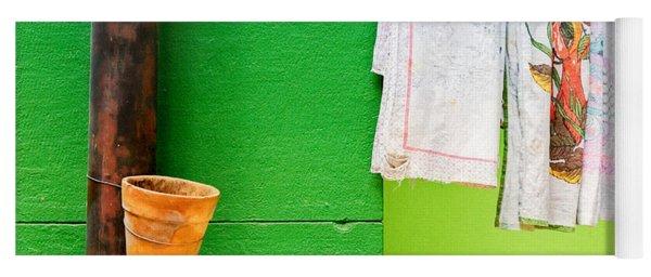 Vase Towels And Green Wall Yoga Mat