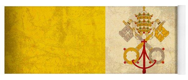 Vatican City Flag Vintage Distressed Finish Yoga Mat
