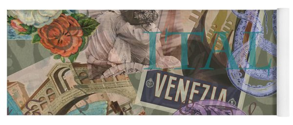 Venice Vintage Trendy Italy Travel Collage  Yoga Mat