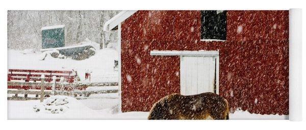 Vermont Christmas Eve Snowstorm Yoga Mat