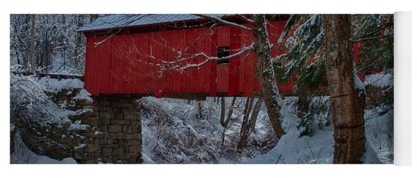 Vermont Covered Bridge Winter Afternoon Yoga Mat