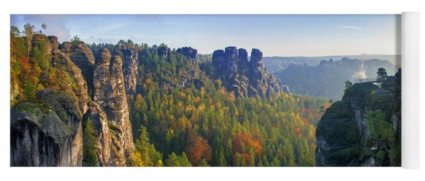 View From The Bastei Bridge In The Saxon Switzerland Yoga Mat