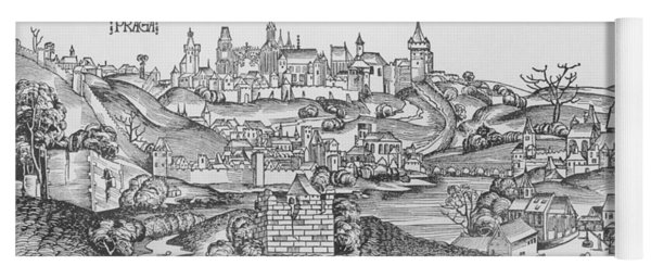 View Of Prague, Illustration From The Liber Chronicarum By Hartmann Schedel 1440-1514 Published Yoga Mat