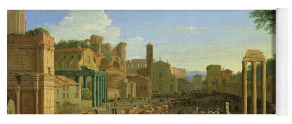 View Of The Campo Vaccino In Rome Yoga Mat
