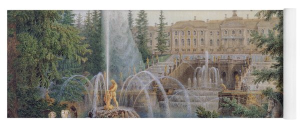 View Of The Marly Cascade From The Lower Garden Of The Peterhof Palace Yoga Mat