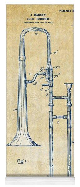 Vintage 1902 Slide Trombone Patent Artwork Yoga Mat