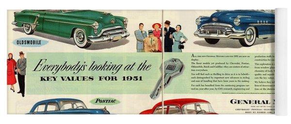 Vintage 1951 Advert General Motors Car Gm Yoga Mat