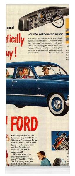 Vintage 1951 Ford Car Advert Yoga Mat