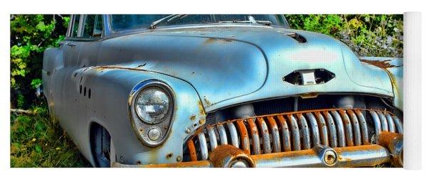 Vintage American Car In Yard Yoga Mat