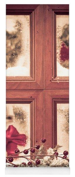 Vintage Christmas Window Yoga Mat