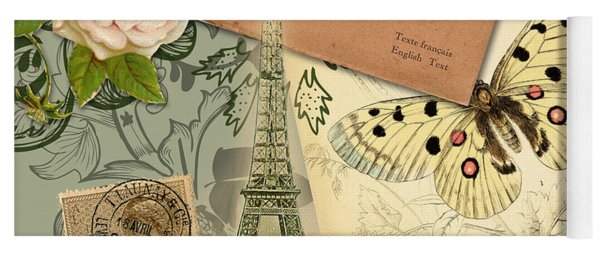 Vintage Eiffel Tower Paris France Collage Yoga Mat