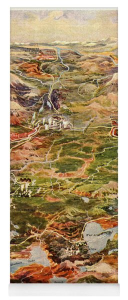Vintage Map Of Yellowstone National Park Yoga Mat