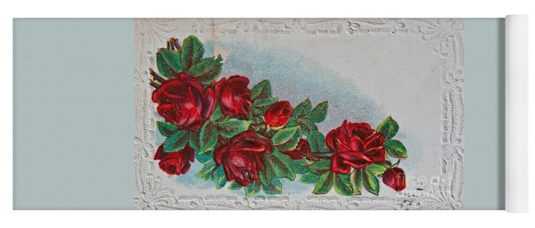 Vintage Postcard With Red Roses Yoga Mat