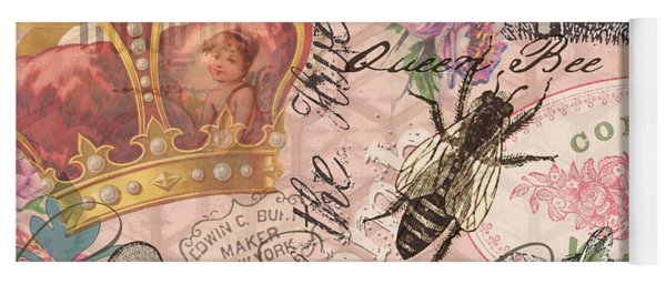 Vintage Queen Bee Collage  Yoga Mat