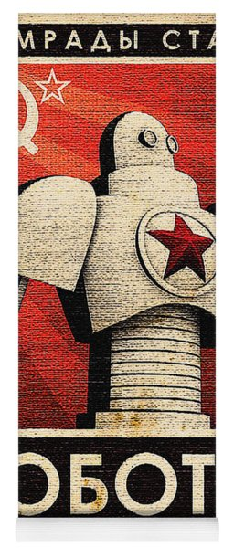 Vintage Russian Robot Poster Yoga Mat