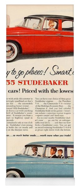 Vintage Studebaker 1955 Car Advert Yoga Mat