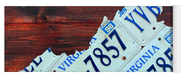 Virginia State License Plate Map Art On Fruitwood Old Dominion Yoga Mat
