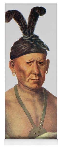 Wakechai Or Crouching Eagle, A Sauk Chief, Illustration From The Indian Tribes Of North America Yoga Mat