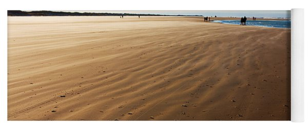 Walking On Windy Beach. Yoga Mat