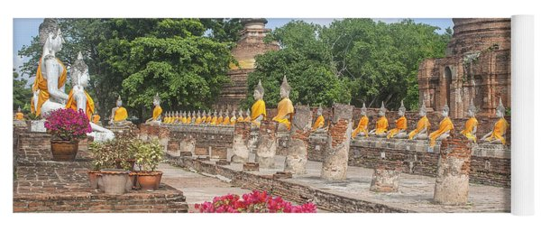Wat Phra Chao Phya-thai Buddha Images And Ruined Chedi Dtha004 Yoga Mat