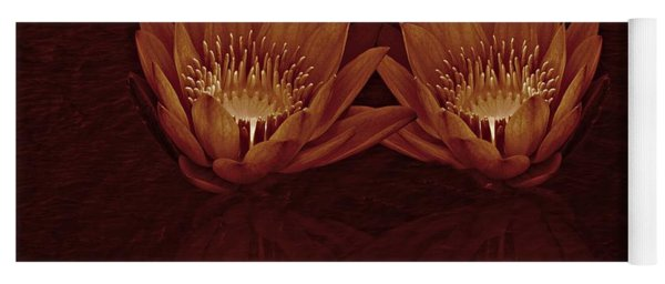 Yoga Mat featuring the photograph Water Lilies In Deep Sepia by David Dehner