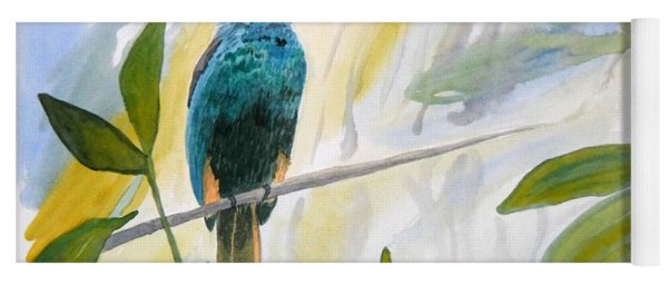 Yoga Mat featuring the painting Watercolor - Jacamar In The Rainforest by Cascade Colors