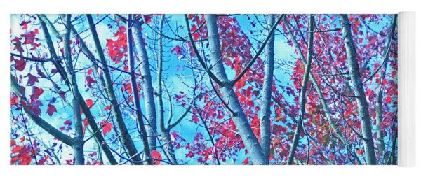 Watercolor Autumn Trees Yoga Mat