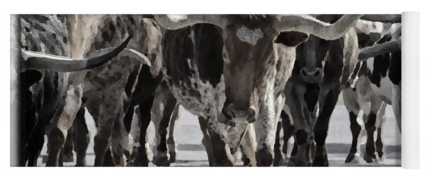 Watercolor Longhorns Yoga Mat