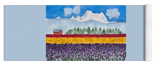 Watercolor Painting Landscape Of Skagit Valley Tulip Fields Art Yoga Mat