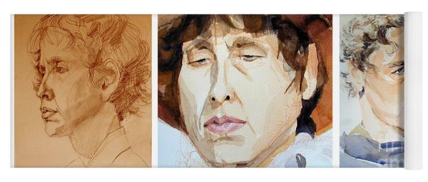 Watercolor Sketch Portraits Of A Woman In Thoughts Yoga Mat