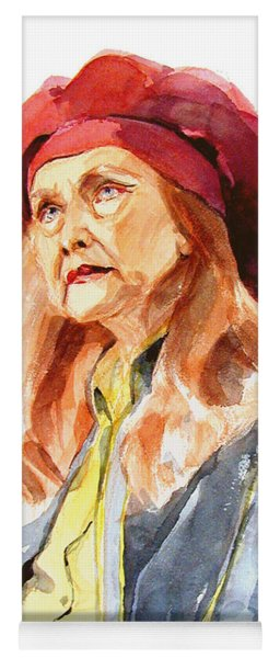Watercolor Portrait Of An Old Lady Yoga Mat