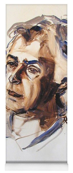 Watercolor Portrait Sketch Of A Man In Monochrome Yoga Mat