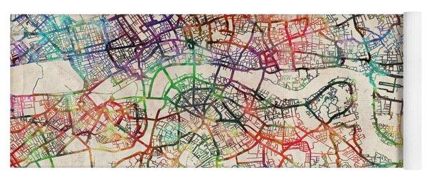 Watercolour Map Of London Yoga Mat