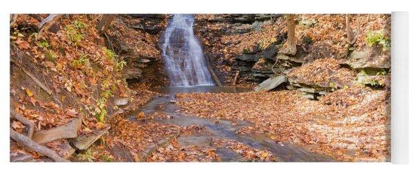 Waterfall In The Fall Yoga Mat