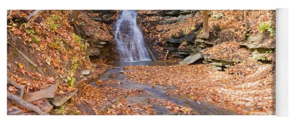Waterfall In The Fall Yoga Mat