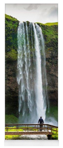 Waterfall With River And Bridge Seljalandsfoss Iceland Yoga Mat