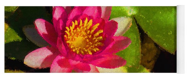 Waterlily Impression In Fuchsia And Pink Yoga Mat