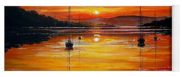Watery Sunset At Bala Lake Yoga Mat