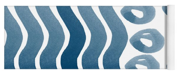 Waves And Pebbles- Abstract Watercolor In Indigo And White Yoga Mat