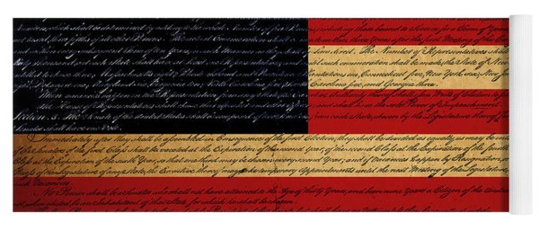We The People - The Us Constitution With Flag - Square Yoga Mat