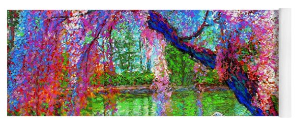 Weeping Beauty, Cherry Blossom Tree And Heron Yoga Mat