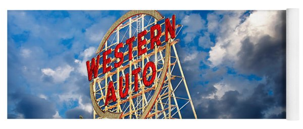 Western Auto Sign Downtown Kansas City Yoga Mat