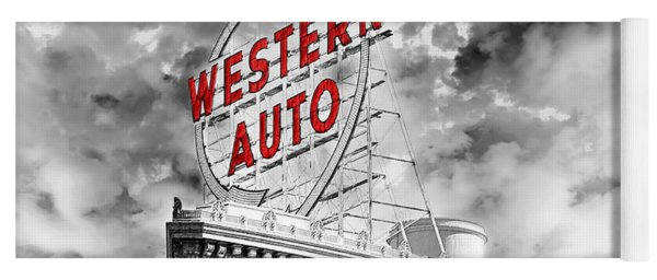 Western Auto Sign Downtown Kansas City B W Yoga Mat
