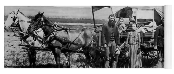 Westward Family In Covered Wagon C. 1886 Yoga Mat