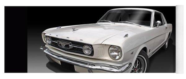 White 1966 Mustang Yoga Mat