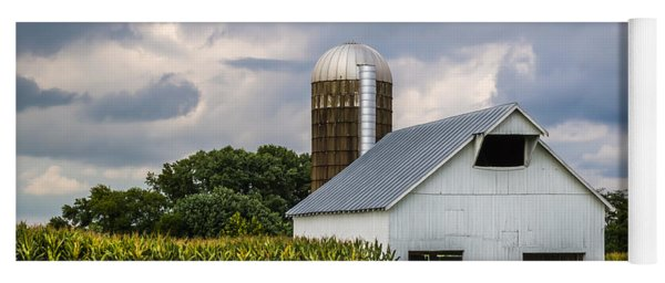 White Barn And Silo With Storm Clouds Yoga Mat