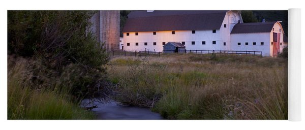 Yoga Mat featuring the photograph White Barn by Brian Jannsen