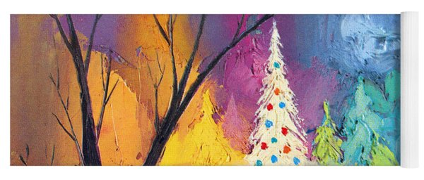 White Christmas Tree Yoga Mat