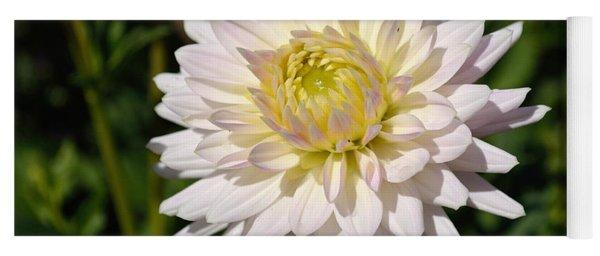 White Dahlia Flower Yoga Mat